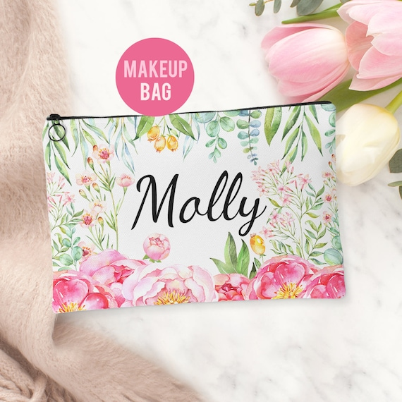 Makeup Bag - Personalized Floral Cosmetics Bag - Accessories Bag Available in 2 sizes