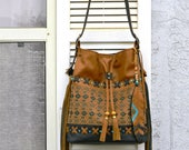 Bucket Leather and Suede Bag Southwestern Style Shoulder Bag with Fringe and Feather Charming Genuine Tan Black Leather Drawstring Bag