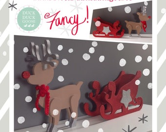 Reindeer Sleigh Christmas Decoration by Duck duck Goose