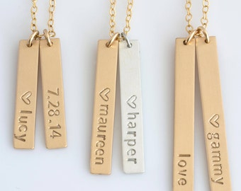 Personalized Vertical Bar Necklace,Vertical Bar Necklace,Name Bar Necklace,Gold Bar,Kids Names Necklace,Gift for Wife, LEILAJewelryShop,N231