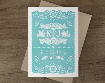 Papel Picado Wedding Invitation Cards - Papel Picado Suite -