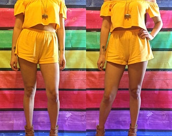 High Low OTS Two Piece Set // High Low OTS Crop Top & High Waisted Shorts
