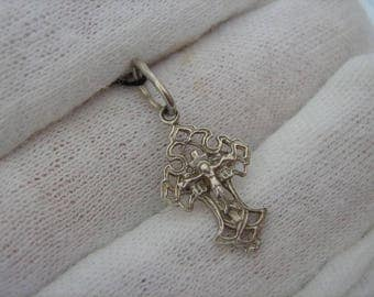 SOLID SILVER Small Tiny Trefoil Trifolium Openwork Filigree CROSS Pendant Crucifixion Crucifix Russian Inscription Kids for Children