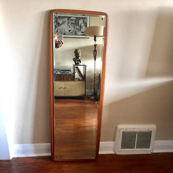 Mid Century Modern Danish Teak Full Length Mirror. 50 Inches By 17.5 Teak  Mirror. Vintage Full Length Mirror. Hanging Mirror.