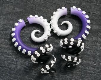 Octopus Plug Earrings, Ursula Ear Gauges, Fake Plugs, Tentacle Gauge Earrings, Disney Ear Plugs, Faux Gauges, Octopus Earrings, Fake Gauges