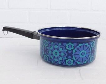 Vintage Blue Flower Enamel Sauce Pan, Retro Enamel Cookware, Flower Sauce Pan
