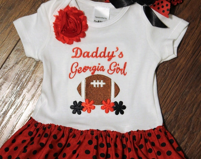 Baby girl Georgia Bulldogs bodysuit with attached skirt, Red and Black,Bulldawgs girl outfit,Daddy's Georgia girl,University of Georgia