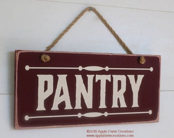 Wooden Pantry Sign, Burgundy and White, Kitchen Decor, Kitchen Pantry Sign, Farmhouse Pantry Sign, Distressed Wood Sign, Pantry Decor 5.5x12