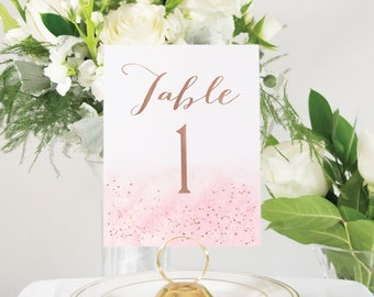 Blush Pink and Rose Gold Foil Table Numbers, Wedding Decor, Custom Handmade Wedding, also in Gold, Silver, or Copper Foil #0149