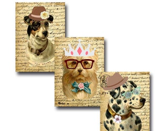 Dogs Cards, Vintage, Decoupage, Shabby Chic, Collage Sheet, Commercial Use, Digital, Scrapbooking, Printable, Instant Download, Retro,