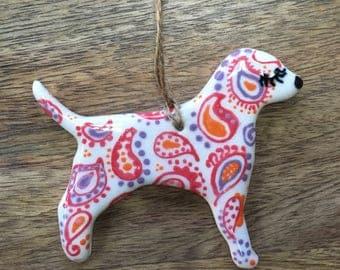 Porcelain Puppy Dog: Pink, Purple and Orange Paisley