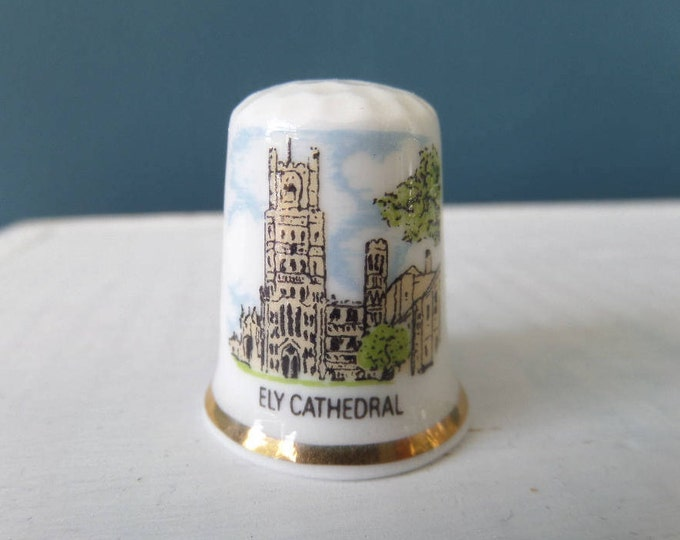 """Porcelain Thimble, Ely Cathedral, Fine Bone China, Made in England, Excellent Condition, 1"""" x 0.75"""", Circa 1980, Cambridgeshire Souvenir"""