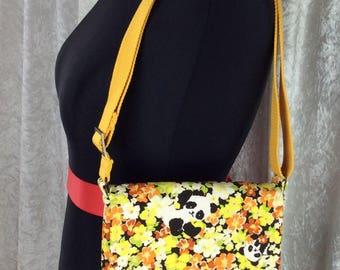 The Pandas in the Flowers Jane Cross Body Bag Fabric shoulder bag purse handbag handmade in England