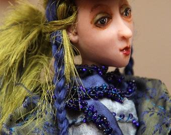 Art doll Carline, OOAK doll, handmade collectibles art doll, polymer clay doll, home decor doll, decorative doll, interior doll, artist doll