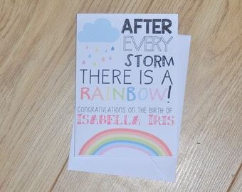 Rainbow Baby Card, Baby Loss Card, New Baby Card, Baby After Loss Card, Child Loss Card, Newborn Card, Birth of Healthy Child, Child Died