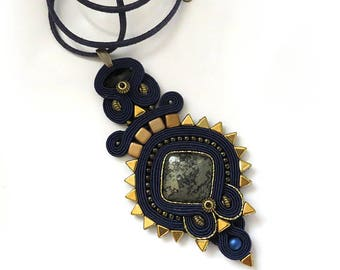 Inspirational necklaces for women gift idea Soutache necklace Big stone necklace navy blue gold necklace Boho necklace Luxury jewelry Tribal