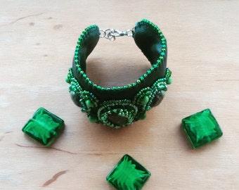 Green Bracelet Cuff Green Bracelet Leather Bracelet Beaded Bracelet Green Cuff