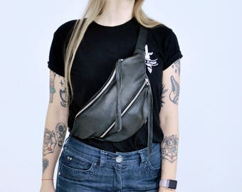 Inspirational Womens gift Black Leather Large Fanny Pack Oversize Bum bag Travel purse Money belt Voyage bag Hip bag X-Large bumbag