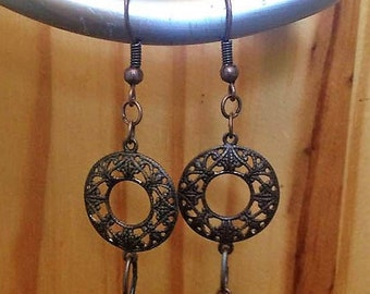 Delicate copper dangle earrings with wood bead accent