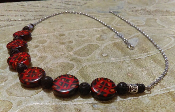 Lava Rock Bead Necklace Red Black Pattern Disc Beads Acrylic Black Lava Rock Beads Stainless Chain Tibetan Silver Beads