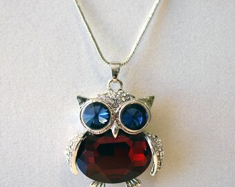 Rhinestone Owl, Owl Pendant, Owl Necklace, Silver Necklace, Silver Pendant, Rhinestone Necklace, Owl Jewelry, Silver Jewelry