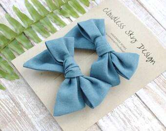 pigtail bows, blue bows, bow, pigtail set, denim pigtail bows, pigtail bow sets, bow clips, bows for girls, baby bows, bows