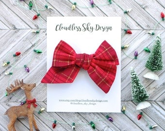 plaid bow, hair bows, christmas bows, oversize bow, baby hair bow, hair bow for girls, toddler hair bow, bows for girls, holiday bow,