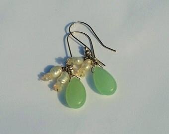 Teal Blue Chalcedony Earrings