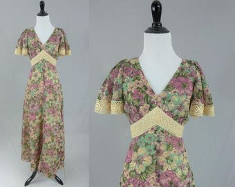 70s Maxi Dress - Romantic Purple Floral - Tea Stained Lace Trim - Butterfly Sleeves - Vintage 1970s - S M