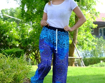 flower pants hippie pants hobo pants harem pants unisex blue