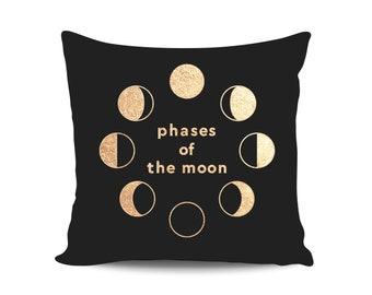 Moon Phases Gold Nursery Pillows Gold Print Decorative Throw Cushions Black Star Moon Nursery Scandinavian Pillows Gift for Mom Moon Pillow