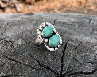 American Turquoise Ring, Size 8.5 Ring, Teal Turquoise Ring, Floral Ring Band, Decorative Band Ring, Statement Ring, Huge Ring, Stone Ring
