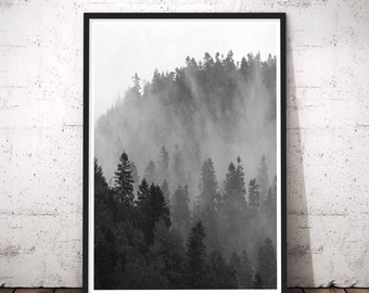 Mountain Wall Decal, Mountain Range, Printable Wilderness, Adventure Time Print, Nordic Style Decor, Minimalist Art Large, Travel Prints Set