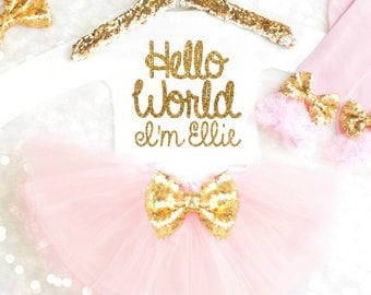 Hello World Baby Outfit Hello World Newborn Outfit Unique Baby Shower Gift Ideas for Girls Personalized Coming Home Outfit Winter Newborn