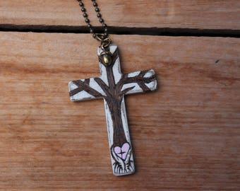 Tree of Life, Wood Cross Pendant, Tree of Love, Wooden Cross, Cross Jewelry, Acorn Jewelry, Tree Necklace, Cross Pendant, Religious Jewelry