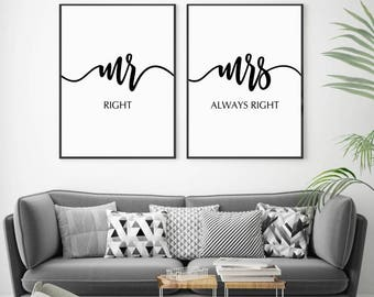 Mr and Mrs Print, Mr Right Mrs Always Right, Gifts for Newlyweds, Mr and Mrs Wall Art, Wedding Gift, Bride to Groom Gift, Wedding Printables