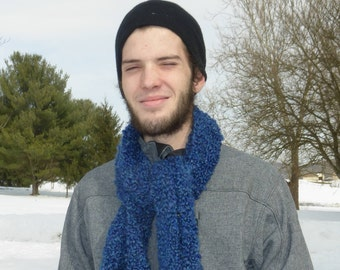 Handmade knit straight chunky royal blue scarf.  Soft, warm and colorful!  Free domestic USPS priority shipping!!