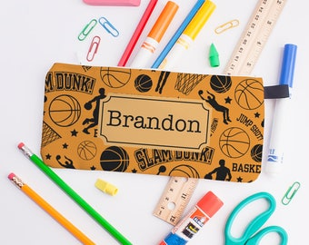 Basketball Pencil Case, First Day, Back to School, Sports Pencil Case, School Supplies, Personalized Pencil Bag, Boys Pencil Case 0223