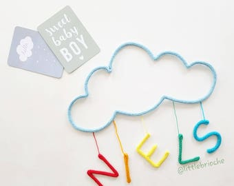 """Wool cloud made knitting """"DREAM"""" or name letters"""