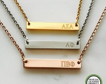 Sorority Necklace - Sorority Gift - Greek Life - Greek Letter Necklace - Personalized Bar Necklace - College Necklace - Gift For Her