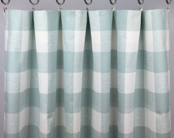 light blue buffalo check curtains free shipping snowy blue plaid blue gingham drapes