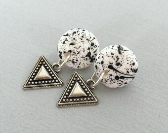 Sterling Silver Polymer Clay Splatter Earrings