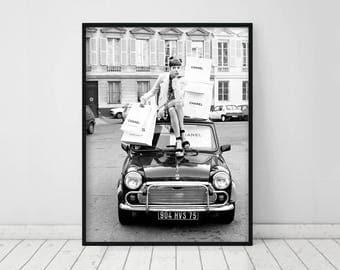 Chanel bag • Chanel print Chanel wall art Chanel inspired decor Vintage fashion photography print Black and white Chanel photo Chanel art
