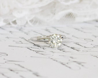 White (H/I) 7.45mm Moissanite in 4-Claw White Gold Moissanite Solitaire Ring, Engagement/Wedding