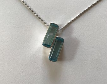 Vintage Blue Crystal 925 Sterling Silver Pendant Necklace