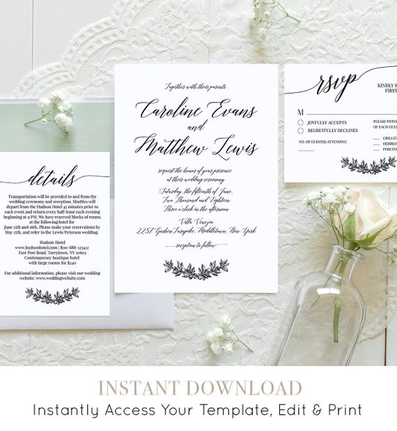 Wedding Invitation Set, Printable Modern Calligraphy Wedding Invite, RSVP, Details, Instant Download, 100% Editable Template, DIY #034