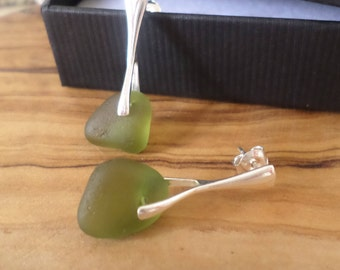 Green Sea Glass Sterling Silver Earrings, Beach Glass, Seaglass, Beach Jewelry, Seaglass Earrings, Beach Glass Earrings, Stud Earrings