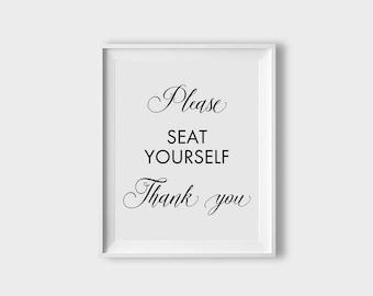 Funny Bathroom Art Seat Yourself Bathroom Sign, Bathroom Wall Decor, Funny  Bathroom Sign,