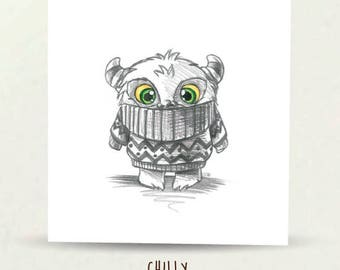 Chilly, Found a new jumper, Illustration, art, pencil, Hand Drawn, Elska Cards & Gifts, Digitally Printed, Greeting Card, Blank inside