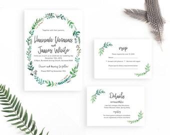 Foliage wedding invitation / Leafy Wedding Invitation Set / Greenery Wedding Suite Template / Printable Wedding Invite / Wedding Invitations